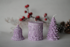 Svietidlá a sviečky - Sada vianočných sviec * s vôňou * (Tmavo fialová) - 10148746_
