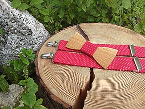 Doplnky - Pánsky drevený motýlik a traky - 10150564_