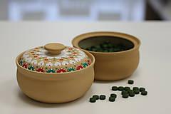 Krabičky - Vianočná kameninová dóza na zelené perly - 10149772_