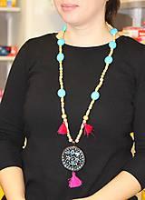 Náhrdelníky - Tyrkysový strapcový boho náhrdelník - 10150168_