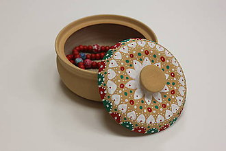 Krabičky - Ručne maľovaná kameninová dóza - 10149640_