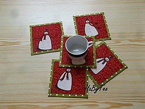 Úžitkový textil - Podložky snehuliak so zeleným lemovaním - 10149350_