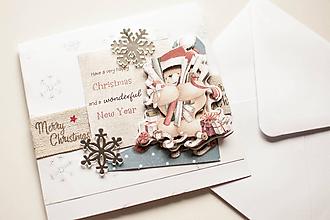 """Papiernictvo - Vianočná pohľadnica """"3D macko"""" - 10151397_"""