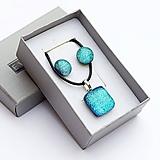 Sady šperkov - Ľadovo-tyrkysová sada sklenených šperkov - 10150836_