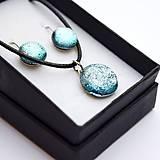 Sady šperkov - Strieborná sada sklenených šperkov - 10151015_