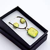Sady šperkov - Zlato-žltá sada sklenených šperkov - 10151033_
