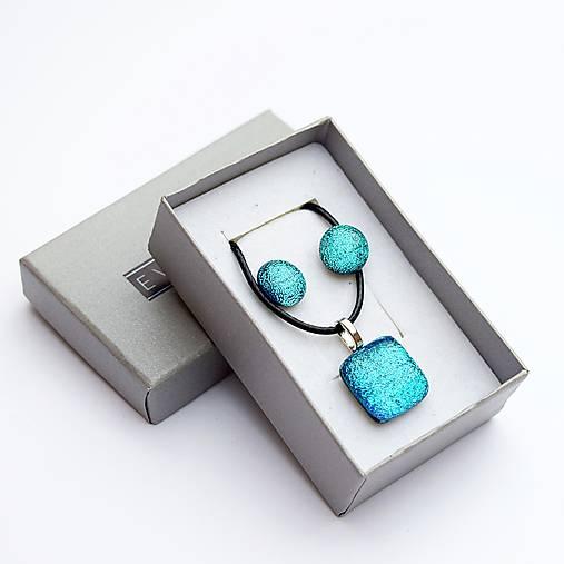 Ľadovo-tyrkysová sada sklenených šperkov