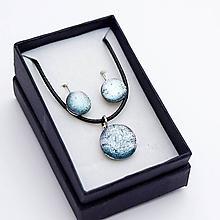 Sady šperkov - Strieborná sada sklenených šperkov - 10151018_