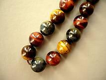 Minerály - Vrt. - tygří oko multicolor 12 mm, 1 ks - 10151769_