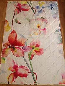 Úžitkový textil - Deka s akvarelovými kvetmi - 10150120_