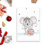 Papiernictvo - Kreslená vianočná pohľadnica - myška a vianočná guľa - 10150884_