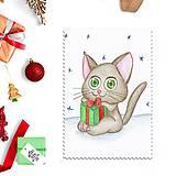 Papiernictvo - Kreslená vianočná pohľadnica - mačička a vianočný darček - 10150885_