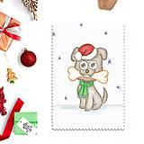 Papiernictvo - Kreslená vianočná pohľadnica - psíček a kosť - 10150887_