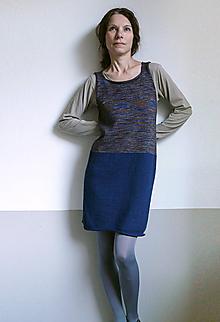 Šaty - šatová sukňa modro-hnedá - 10150787_