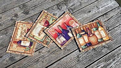 Úžitkový textil - Kuchynský set (vintage vínny motív) - 10153475_