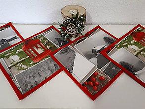 Úžitkový textil - Kuchynský set (červená zasnežená krajinka) - 10153486_