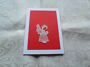 Papiernictvo - Vianočná pohľadnica s anjelom - 10154948_