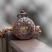 Doplnky - Mechanické vreckové hodinky s kroužkovanou reťazou (43) - 10153239_