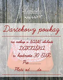 Darčekové poukážky - DAČEKOVÝ POUKAZ NA 30 EUR - 10154596_