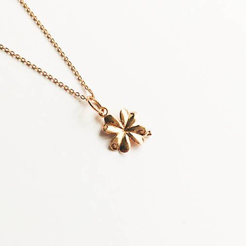 pozlátený strieborný náhrdelník s trojlístkom Suerte Ag 925