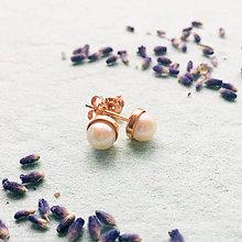 Náušnice - pozlátené strieborné náušnice s perlou Nataša Ag 925 - 10153889_