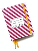 Papiernictvo - DIÁR fuchsiovo-žltý pásikáč (ľubovoľný nápis) - 10153972_