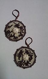Náušnice - koral hnedý - 10154785_
