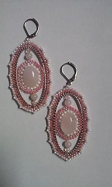 Náušnice - ovál ružový - 10154780_