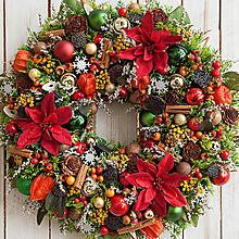 Dekorácie - Vianočný veniec na dvere s vianočnou ružou - 10157021_