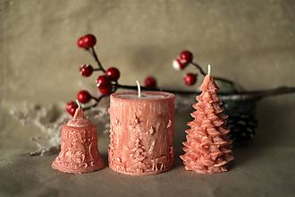 Svietidlá a sviečky - Sada vianočných sviec * s vôňou * (Červená) - 10154751_