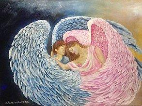 Obrazy - Anjeli v objatí - 10155674_