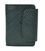 Luxusná dámska kožená peňaženka s mriežkovaným dekorom v čiernej farbe