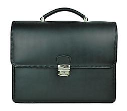 Tašky - Elegantná kožená aktovka v čiernej farbe - 10156008_