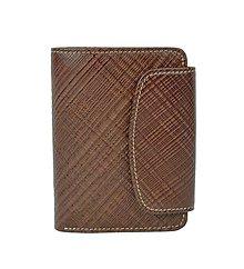 Peňaženky - Luxusná dámska kožená peňaženka s mriežkovaným dekorom v hnedej farbe - 10156188_