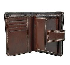 Peňaženky - Dámska kožená elegantná peňaženka v tmavo hnedej farbe - 10156200_
