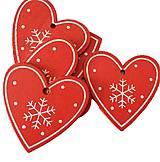 VY112 Drevené srdiečko vianočné 5 cm (Červené II)