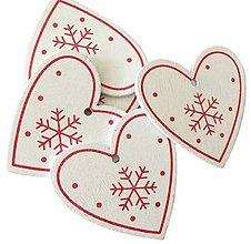 Polotovary - VY112 Drevené srdiečko vianočné 5 cm (Biele II) - 10155099_
