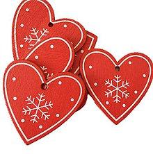Polotovary - VY112 Drevené srdiečko vianočné 5 cm (Červené II) - 10155100_