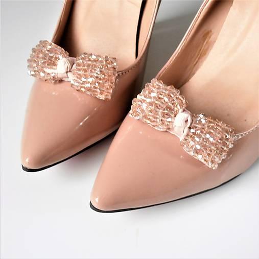 b525fe9255b9 Klipy na topánky - púdrové béžové ligotavé mašle (Béžová)   Safron ...