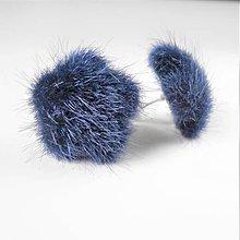Náušnice - Kožušinkové napichovacie náušnice  (Modrá) - 10154815_