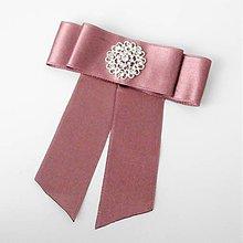 Odznaky/Brošne - Elegantná saténová ružová marsala bordová olivová kvetinová čierna brošňa so štrasovou ozdobou (Hnedá) - 10155223_