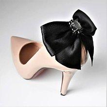 Obuv - Klipy na topánky - čierne mašle so štrasovým kamienkom - 10155316_