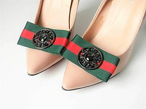 197e2a5717b6 Obuv - Klipy na topánky - elegantné casual modré   zelené mašle s ozdobou  (Zelená