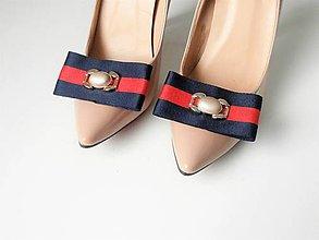 Obuv - Klipy na topánky - elegantné casual modré / zelené mašle s ozdobou  (Modrá) - 10155539_