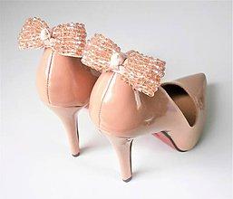 Obuv - Klipy na topánky - púdrové béžové ligotavé mašle (Béžová) - 10155702_