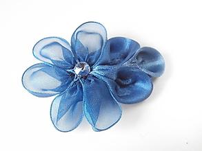 Obuv - Kráľovsky modré kvetinové klipy na topánky (Modrá) - 10156092_