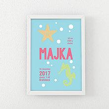 Detské doplnky - Personalizovaný obrázok - MORSKÉ - Hviezdica a koník - 10156928_