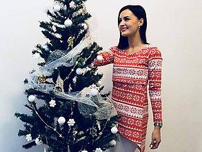 Tehotenské oblečenie - Vianočná asymetrická tunika na dojčenie - 10153036_