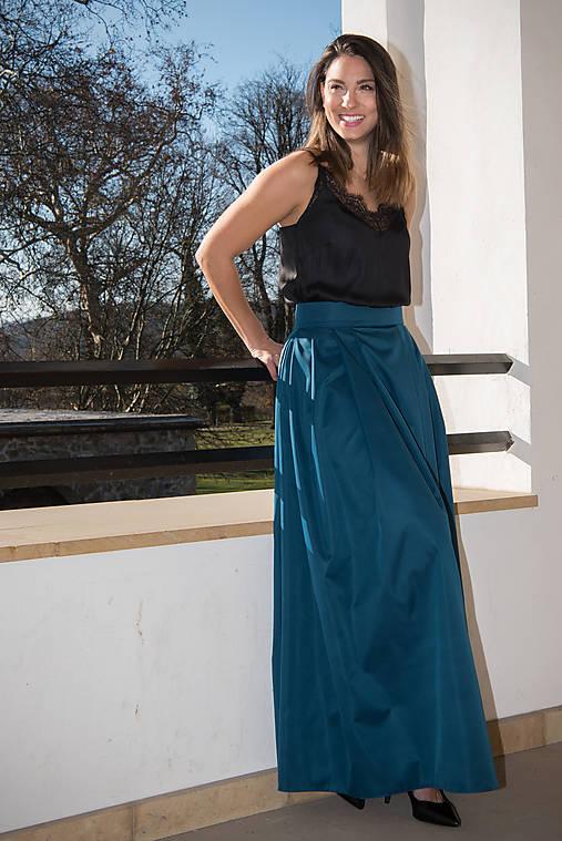 768be674deac Skladaná dlhá sukňa s vreckami - petrolejová (Skladaná suknička s vreckami)