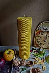 Svietidlá a sviečky - sviečka z včelieho vosku- krútená- extra hrubá- veľká - 10154004_